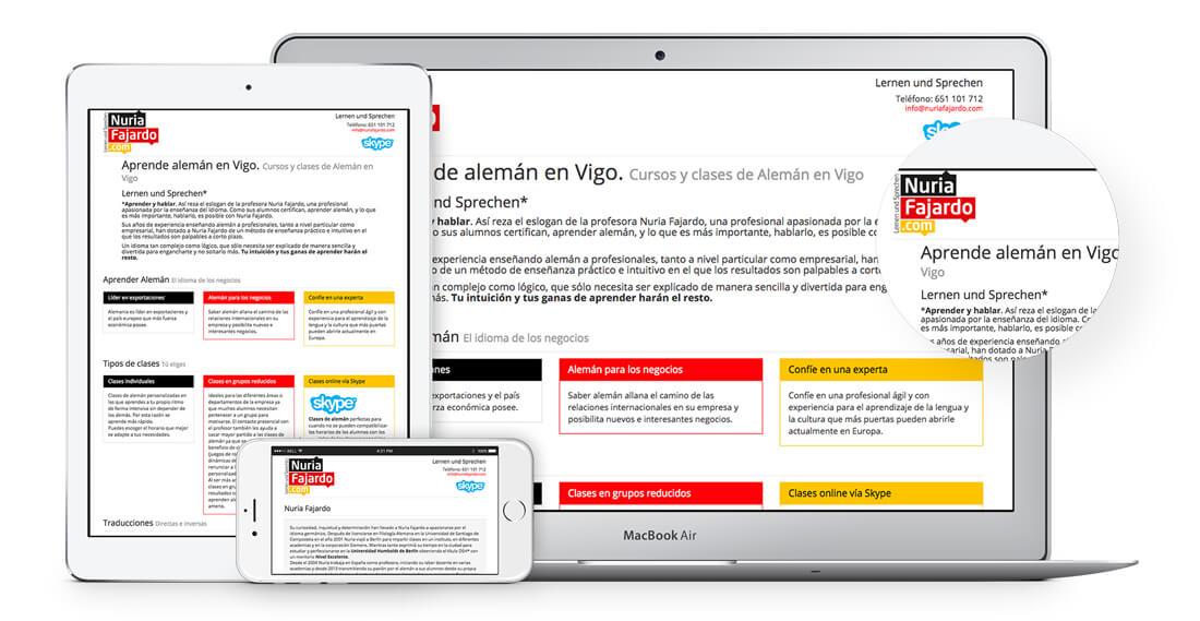 diseño página web profesora alemán Vigo