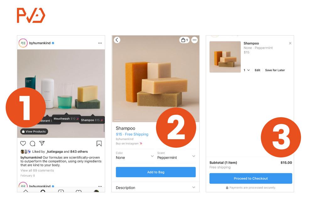 Pasos Instagram Shopping Checkout
