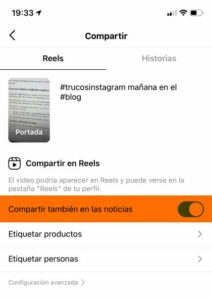 Compartir Reels en tu feed